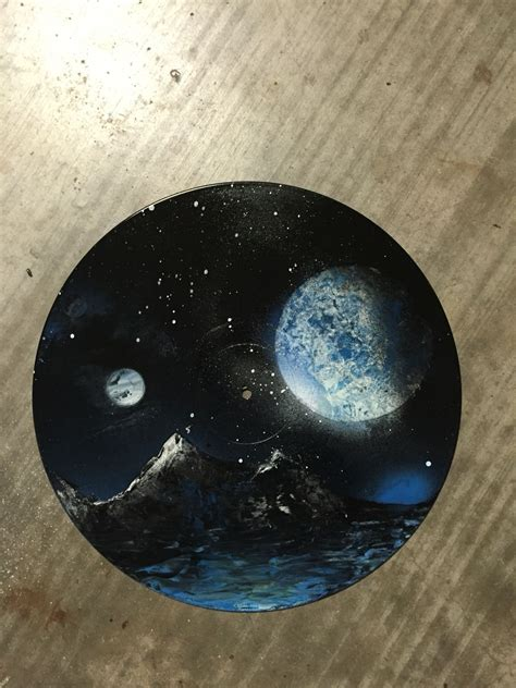 I painted this space scene on a vinyl record | Vinyl art