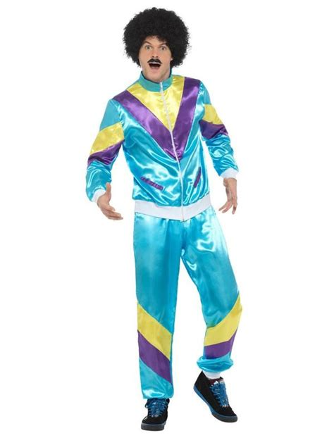 80s Height of Fashion Shell Suit Costume, Blue   Smiffys