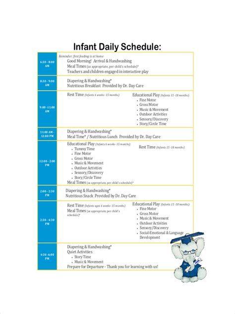 FREE 8+ Daycare Schedule Examples & Samples in Google Docs