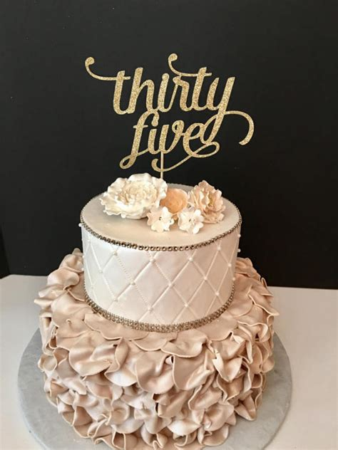 ANY NUMBER Gold Glitter thirty five Cake Topper 35th Birthday