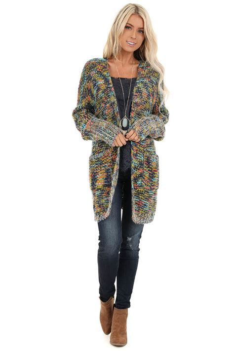 Navy Multi Colored Long Sleeve Knit Cardigan with Pockets