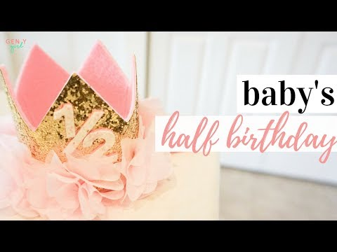 Half Birthday Decorations | Gold Glitter Floral Watercolor