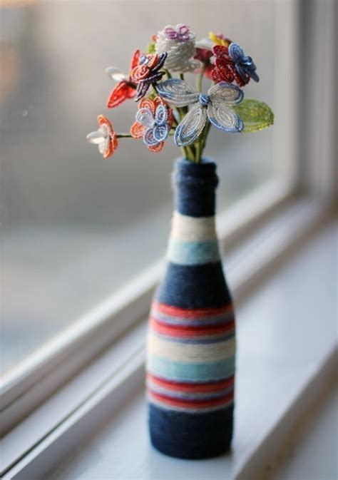 Diy Yarn Wrapped Bottle Vase · How To Decorate A Bottle