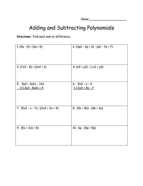 14 Best Images of Polynomial Worksheets Printable - Adding