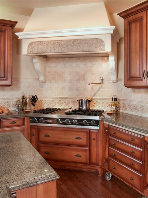 Wood Kitchen Cabinets Surrounding Neutral Covered Range