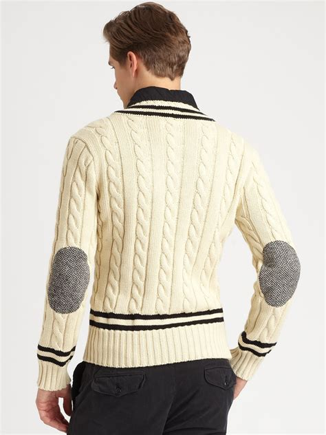 Lyst - Polo ralph lauren Cabled V-neck Cricket Sweater in