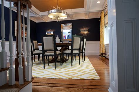 Navy Blue Dining Room With Burlap Ceiling, Unique Light