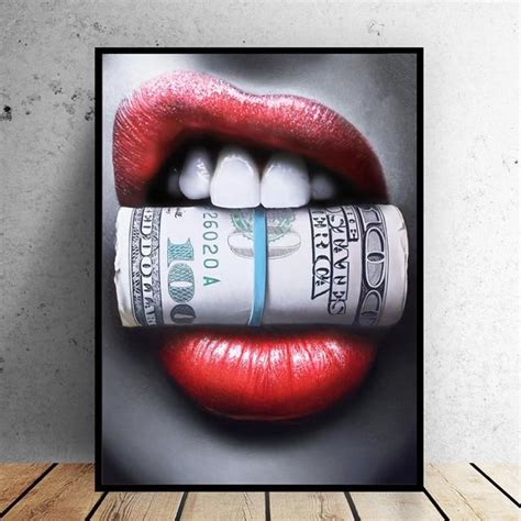 Sexy Red Lips Bite Bullet and Money – Everest Show ROOM