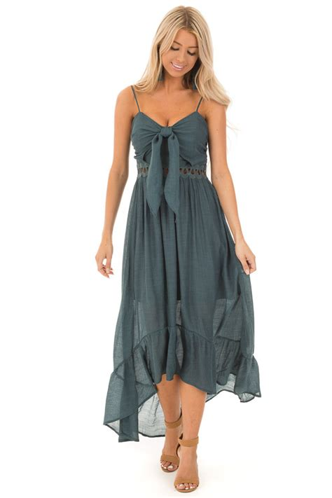 Dark Teal High Low Dress with Cutout Detail and Front Tie