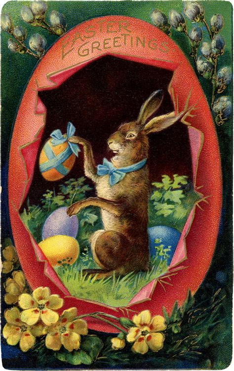 Victorian Easter Bunny with Egg Image! - The Graphics Fairy
