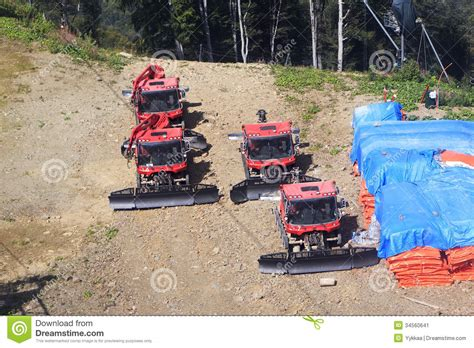 Plow Snow Removal Equipment In The Mountains Stock Image