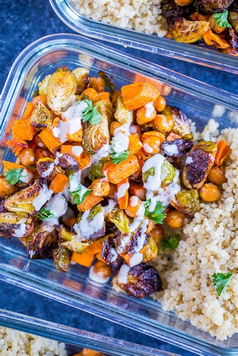 Roasted Sweet Potato and Chickpea Meal Prep Bowls - She