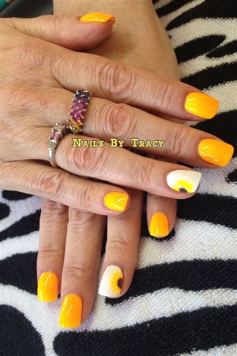 Pin by Tracy Whitesides on NailzbyTracy | Sunflower nails