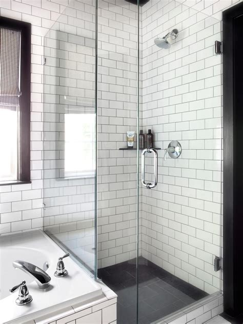 Black and White Contemporary Bathroom with Brick Pattern