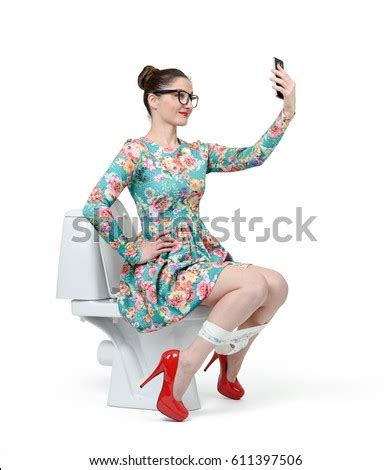 Young Woman Dress Sits On Toilet Stock Photo 611397506