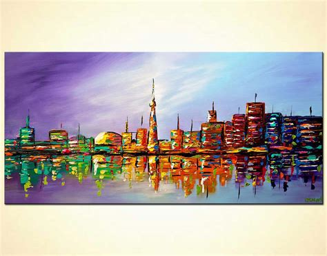 Painting for sale - modern Toronto skyline city abstract