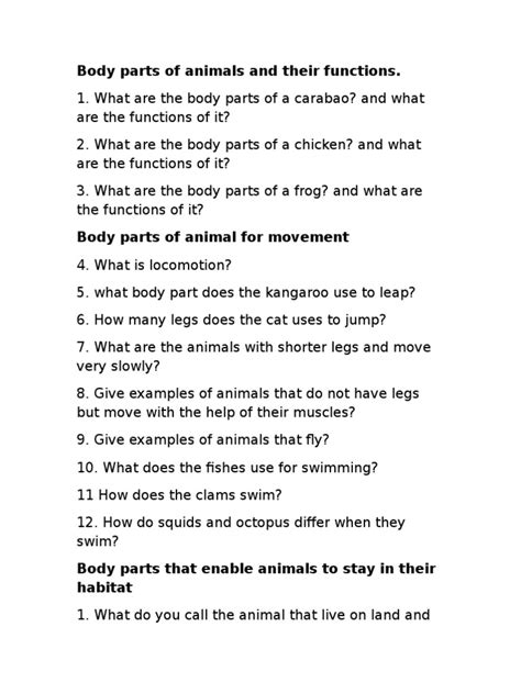 Body Parts of Animals and Their Functions