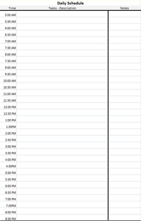 Daily Schedule Template - Microsoft Excel Spreadsheet for