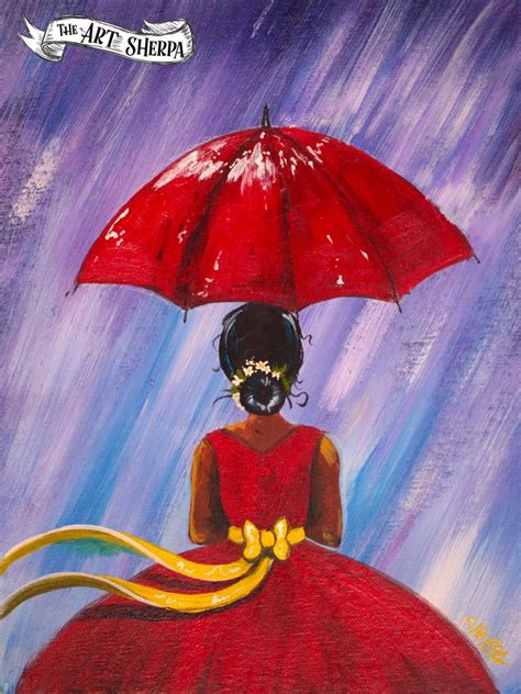 Easy Girl In The Rain With Red Dress Acrylic Painting