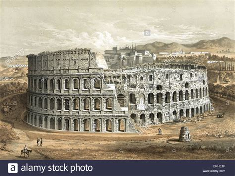 Vintage lithograph print circa 1872 of the Colosseum in