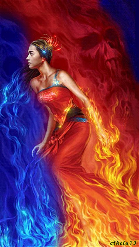 Woman in a devil fire :: Animated Pictures