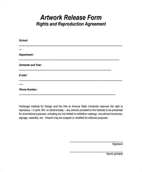 FREE 10+ Artwork Release Forms in PDF   MS Word