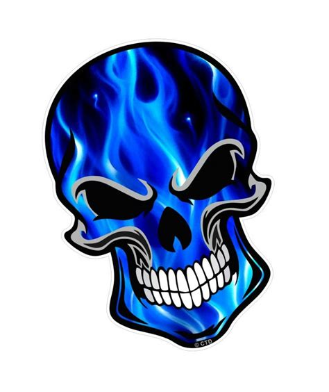 GOTHIC BIKER SKULL With Electric Blue Flames Fire Motif