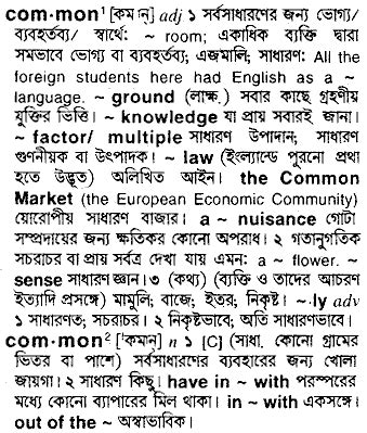 common - Bengali Meaning - common Meaning in Bengali at