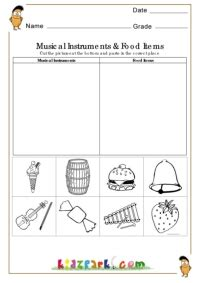 Musical Instruments and food items Worksheet,EVS