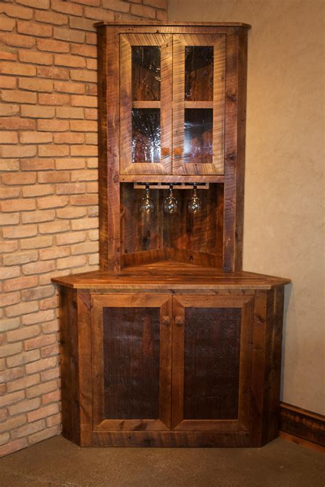 Mini Corner Bar - handcrafted from reclaimed barnwood by