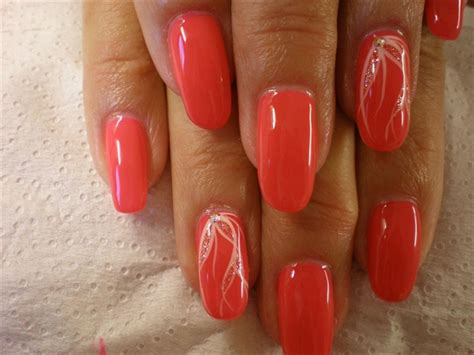 coral oval gel nails - Nail Art Gallery