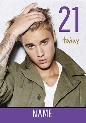 Justin Bieber - Birthday Card 21 Today | Funky Pigeon
